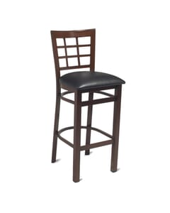 Walnut Steel Window-Back Restaurant Bar Stool with Upholstered Seat (front)