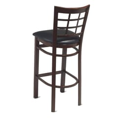 Mahogany Steel Window-Back Restaurant Bar Stool with Upholstered Seat