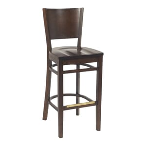 Walnut Wood Contempo Commercial Bar Stool with Saddle Seat (front)