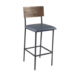 Reclaimed Wood Industrial Steel Frame Restaurant Bar Stool in Walnut with Upholstered Seat (front)