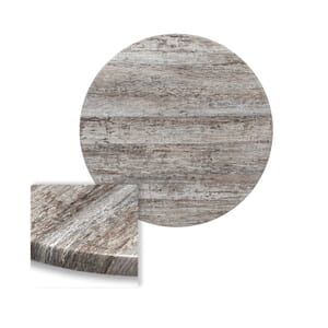 "Werzalit Reclaimed Wood Round Outdoor Dining Table Top (24"")"