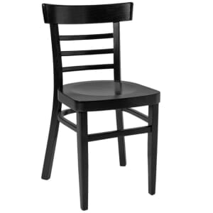 Black Wood Eco-Ladderback Commercial Side Chair with Veneer Seat