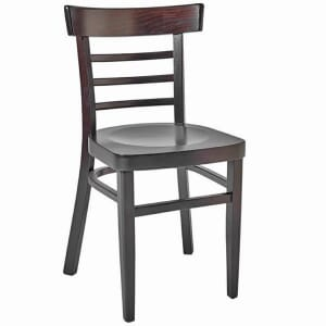 Walnut Wood Eco-Ladderback Commercial Side Chair with Solid Wood Saddle Seat