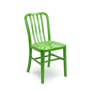 Outdoor Navy-Style Vertical-Back Commercial Chair in Green