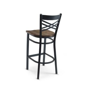 Black Metal X-Back Commercial Bar Stool with Solid Reclaimed Wood Seat