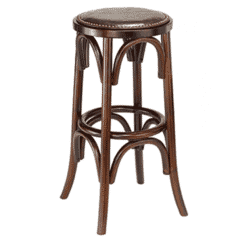 Antique Walnut Bistro Style Backless Commercial Bar Stool