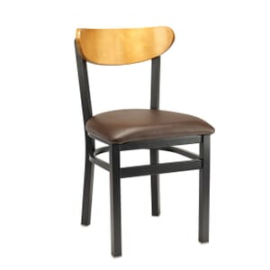 Black Metal Commercial Chair with Kidney Shaped Veneer Back and Upholstered Seat