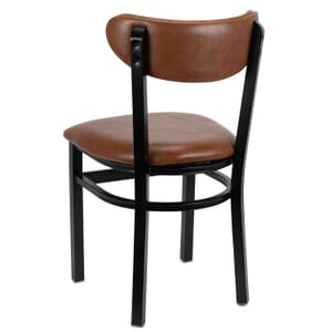 Fully Upholstered Black Metal Commercial Chair with Kidney Shaped Veneer Back