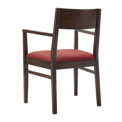 Espresso Wood Square Back Upholstered Commercial Chair With Arms