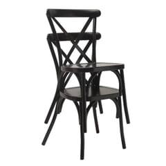 Antique-Look Stackable Black Metal Cross-Back Indoor/Outdoor Chair