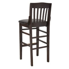 Solid Wood Schoolhouse Restaurant Bar Stool in Dark Mahogany