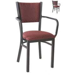 Fully Upholstered Welded Steel Metal Chair with Arms