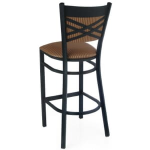 Cross-back Fully Upholstered Metal Bar Stool