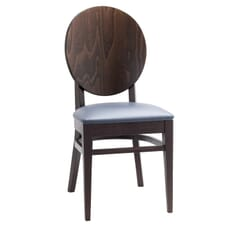 Espresso Wood Round Back Restaurant Chair with Upholstered Seat