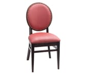 Fully Upholstered Espresso Wood Round Back Restaurant Chair with Nailhead Trim (front)