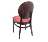 Fully Upholstered Espresso Wood Round Back Restaurant Chair with Nailhead Trim