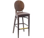 Espresso Wood Round Back Restaurant Bar Stool with Upholstered Seat