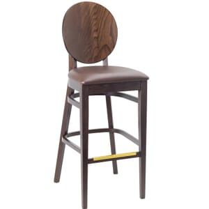 Walnut Wood Round Back Restaurant Bar Stool with Upholstered Seat (front)