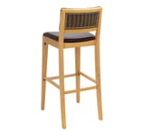 Fully Upholstered Natural Wood Commercial Bar Stool with Nail-head Trim