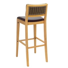 Fully Upholstered Natural Wood Madison Commercial Bar Stool with Nail-head Trim