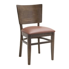 Walnut Solid Wood Square Back Restaurant Chair with Upholstered Seat
