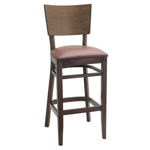 Walnut Solid Wood Square Back Restaurant Bar Stool with Upholstered Seat (Front)