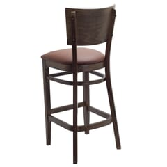 Walnut Solid Wood Square Back Restaurant Bar Stool with Upholstered Seat