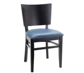 Black Solid Wood Square Back Restaurant Chair with Upholstered Seat (Front)