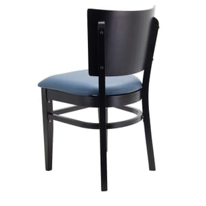 Black Solid Wood Square Back Restaurant Chair with Upholstered Seat