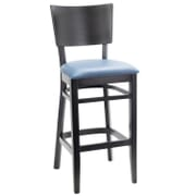 Black Solid Wood Square Back Restaurant Bar Stool with Upholstered Seat (Front)