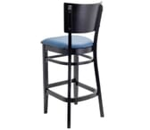 Black Solid Wood Square Back Restaurant Bar Stool with Upholstered Seat