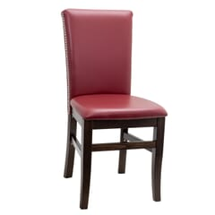 Fully Upholstered Walnut Wood Stella Restaurant Chair with Nailhead Trim