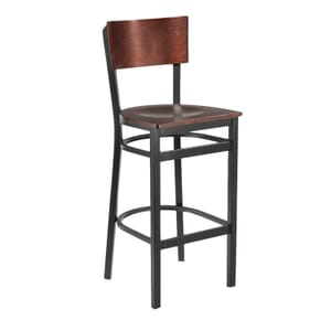 Black Metal Commercial Bar Stool with Square Dark Mahogany Veneer Seat and Back (front)