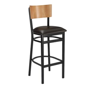 Black Metal Commercial Bar Stool with Square Natural Veneer Back and Upholstered Seat (front)
