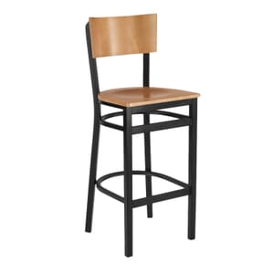 Black Metal Commercial Bar Stool with Square Natural Veneer Seat and Back (front)