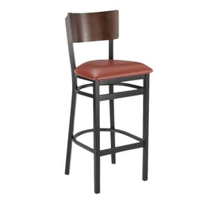 Black Metal Commercial Bar Stool with Square Walnut Veneer Back and Upholstered Seat (front)
