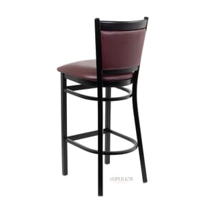 Black Steel Frame Restaurant Bar Stool with Upholstered Seat & Back