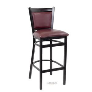 Black Steel Restaurant Bar Stool with Upholstered Back and Seat (Front)