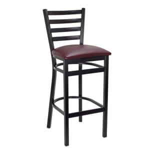 Black Steel Ladderback Restaurant Bar Stool with Upholstered Seat (Front)