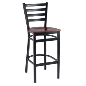Black Steel Ladderback Restaurant Bar Stool with Veneer Seat (front)