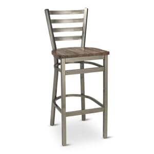 Clear Coat Distressed Finish Steel Ladderback Restaurant Bar Stool with Reclaimed Wood Seat