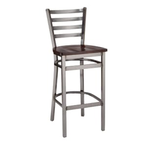 Clear Coat Distressed Finish Steel Ladderback Restaurant Bar Stool with Solid Beechwood Seat (front)
