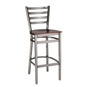 Clear Coat Distressed Finish Steel Ladderback Restaurant Bar Stool with Veneer Seat (front)