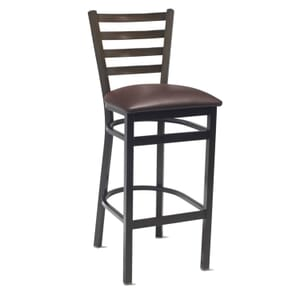 Dark Mahogany Steel Ladderback Restaurant Bar Stool with Upholstered Seat (front)