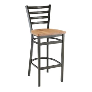 Gold-Vein Steel Ladderback Restaurant Bar Stool with Solid Beechwood Seat (front)