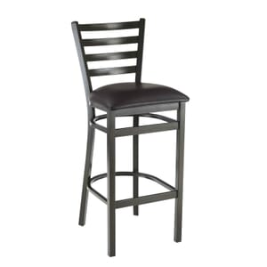 Gold-Vein Steel Ladderback Restaurant Bar Stool with Upholstered Seat (front)
