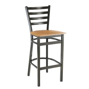 Gold-Vein Steel Ladderback Restaurant Bar Stool with Veneer Seat (front)