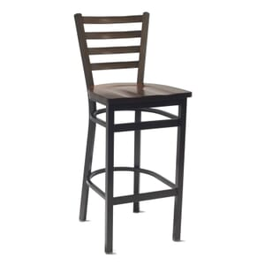 Walnut Ladderback Restaurant Bar Stool with Solid Beechwood Seat (front)