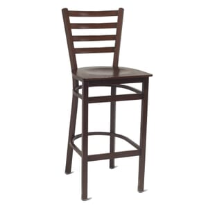 Walnut Steel Ladderback Restaurant Bar Stool with Veneer Seat (front)