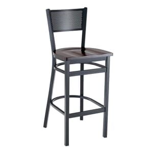 Black Steel Mesh-Back Restaurant Bar Stool with Beechwood Veneer Seat (front)